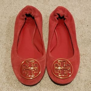 Tory Burch Reva Red Suede Ballet Flats Size 5.5
